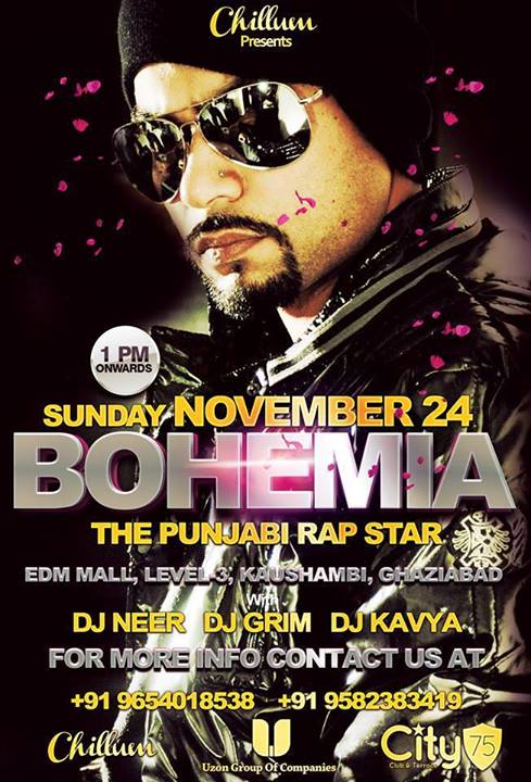 BOHEMIA the punjabi rapper live at Club Chillum in NCR on Nov 24th