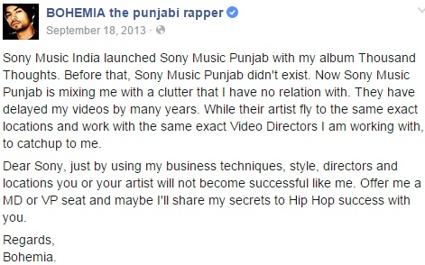 Bohemia & Sony Music, Punjabi Rapper, Desi, HipHop, India