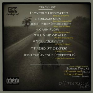 Off The Record (TheEP) - DrAssenator - Desi HipHop - Back Cover(TrackList)
