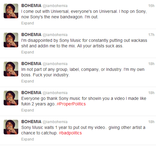Bohemia Disappointed by Sony Music