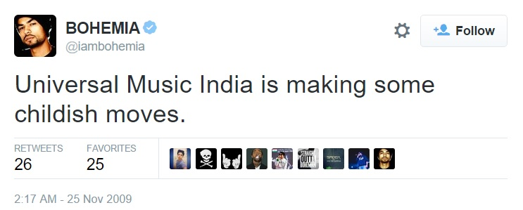 Bohemia - Universal Music India is making some childish moves.
