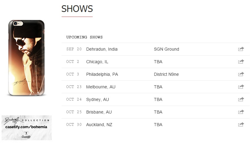 Bohemia Upcoming Shows