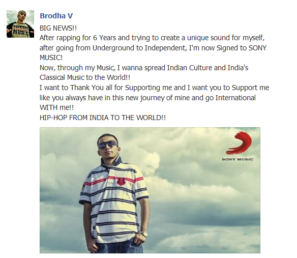 Brodha V Signed With Sony Music
