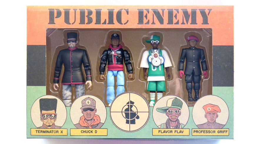 public enemy action figure - Chuck D, Flavor Flav, Professor Griff