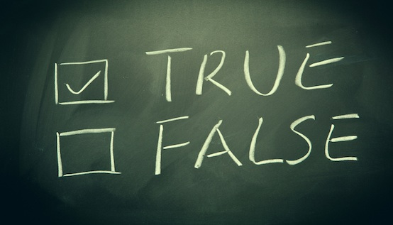 True and false check boxes written on a blackboard.